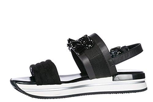 Sandales Sandales En Cuir Des Femmes Hogan H257 Noir