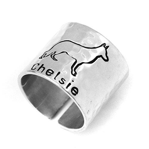 Custom German shepherd Ring, Personalized Hammered German shepherd Ring Dog Lover Gift ()