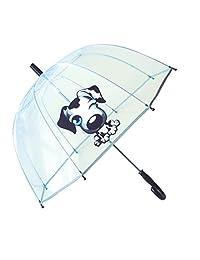 SMATI Kids'Umbrella dome transparent - The first umbrella has reflective stripe – extra safty to children in the darkness (Black Dog)