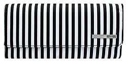 Kenneth Cole Reaction Womens Saffiano Clutch Wallet Trifold W Coin Purse Black White Stripe