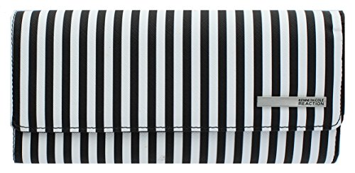 kenneth-cole-reaction-womens-saffiano-clutch-wallet-trifold-w-coin-purse-black-white-stripe
