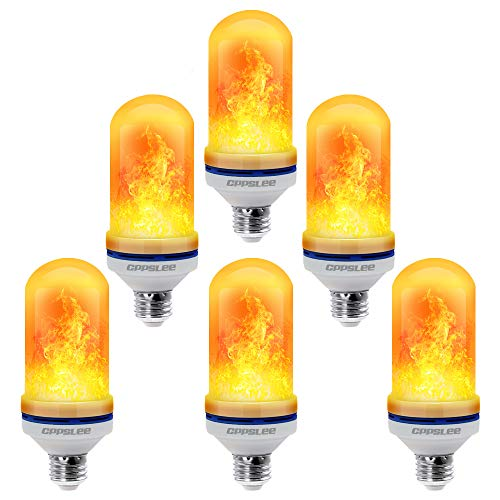 CPPSLEE - LED Flame Effect Light Bulb - 6 Modes with Upside Down Effect - 4 Packs E26 Base LED Bulb - Flame Bulbs for Festival/Hotel/Bar Party Decoration