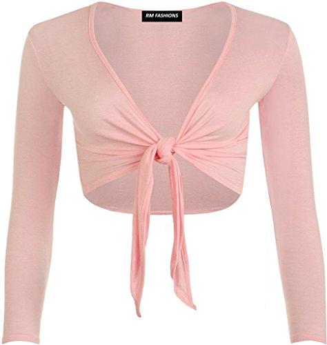 RM Fashions Womens Plain Long Sleeves Front Tie Knot Shrug Stretchy Bolero Cardigan Top (Small - 3XL)