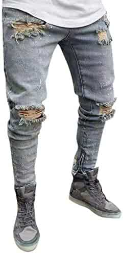 003f1138 iMAKCC Vintage Pants Men's Ripped Slim Fit Tapered Leg Jeans Denim Pants