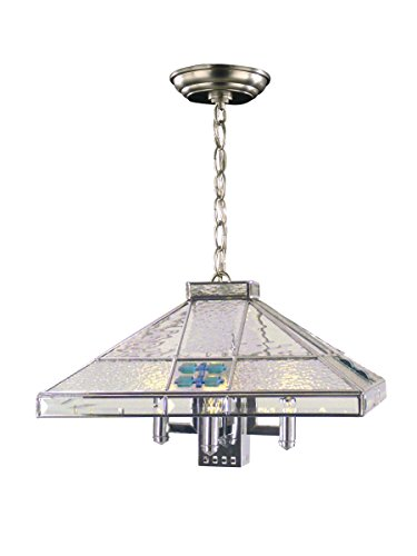 Springdale STH11034 Blue Fused 3-Light Hanging Fixture, Silver