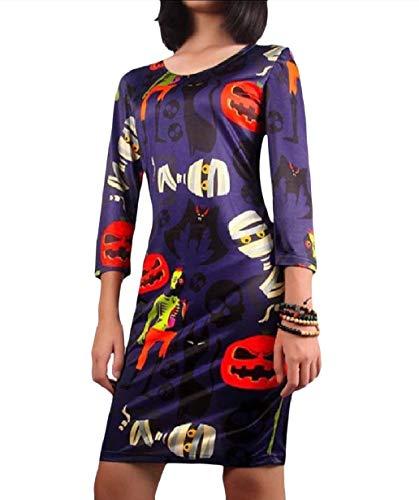 Tootless-Women Halloween Pumpkin Face Painting Fashion Sheath Dress Black XS]()