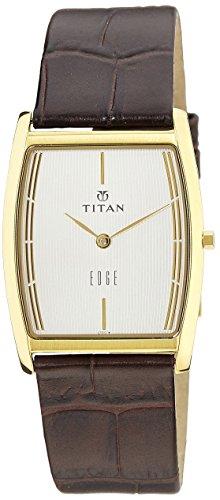 Titan Men's Edge Mineral Quartz Glass Slim Analog Wrist Watch- Ultra Slim Watch with Metal, Leather Strap ()