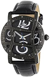 "JBW Women's JB-6214L-I ""Olympia"" Black Designer Diamond Leather Band Watch"