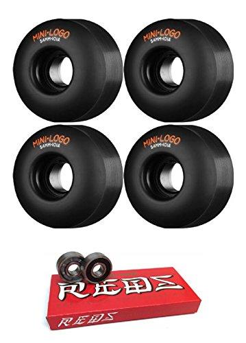 軽減する踊り子看板mini-logo 54 mmカットスケートボードWheels with Bones Bearings – 8 mmスケートボードベアリングBones Super Redsスケート定格 – 2アイテムのバンドル