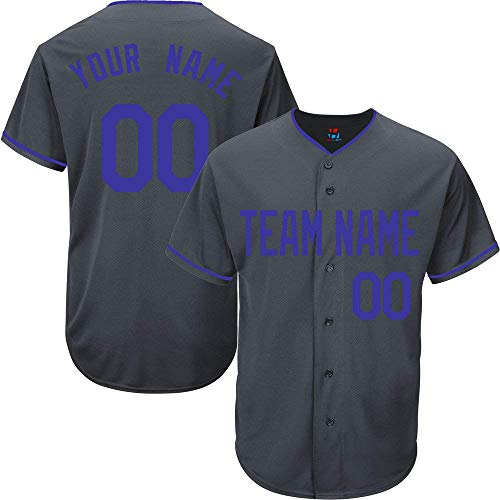 Charcoal Custom Baseball Jersey for Men Women Youth Button Down Embroidered Team Name & Numbers S-5XL Blue