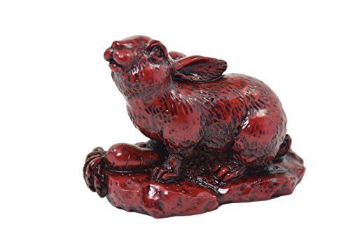 Chinese Horoscope Chinese Zodiac Handmade Red Resin Rabbit Collectible statue Figurine Sculpture ( 4/12 )