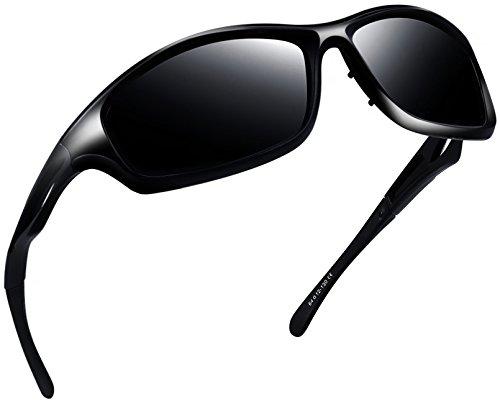 Joopin Polarized Sport Sunglasses for Men Women UV400 Sports Sun Glasses Shades (Glossy Black)