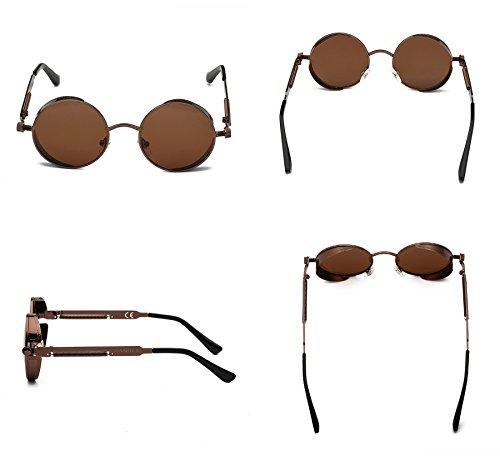Metálico Lennon John 1 Estilo Redondas DAWILS de Gafas Retro Polarizadas Lentes Marrón Marco Mujer Espejadas Marrón Sol xOw1RSq