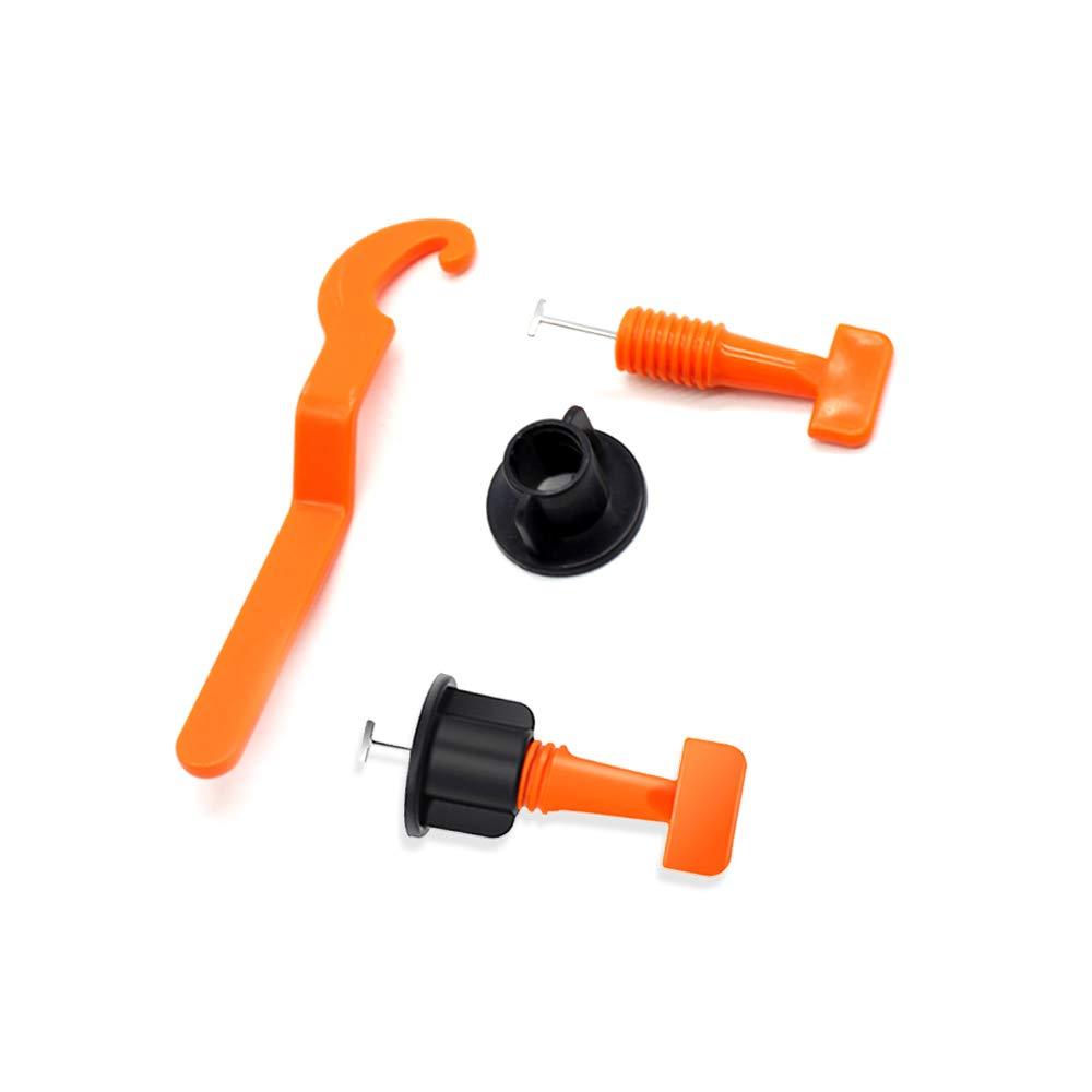 50 PCS Ajustador de nivelaci/ón de baldosas Piso de cer/ámica plana Herramientas de construcci/ón de paredes Kit de sistema de nivelaci/ón de baldosas reutilizables con llave especial naranja
