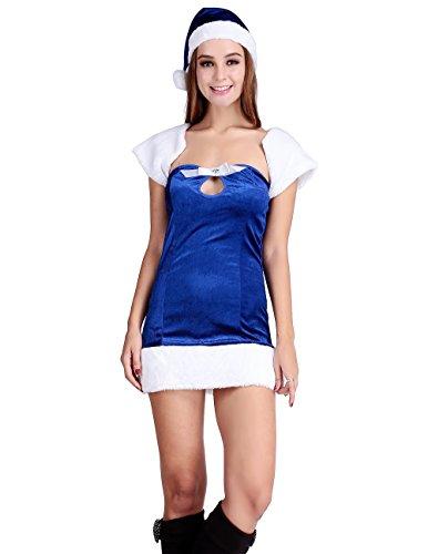 Papaya Wear Blue Elf Mrs Santa Claus Costume Christmas Party Velvet Dress (Velvet Elf Suit Costume)