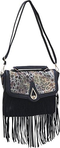 Femina Women's Animal Print Saddle Bag with Fringe (Black)