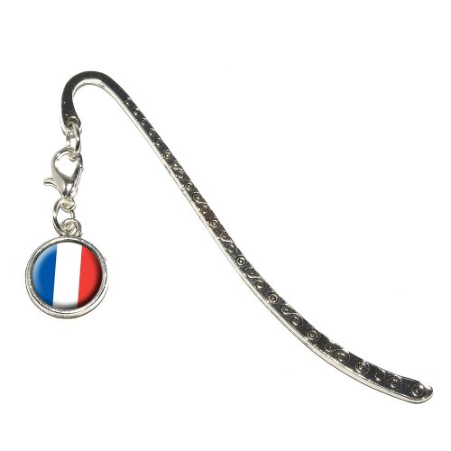 Graphics and More France French Flag Metal Bookmark Page Marker with Charm (CHARM_BOOK_0246) -
