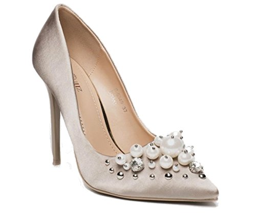 A Pearl F34 Pompe Smart On Tacco Ladies Party Satin Dressy Shu Shoes Donna Crazy Cachi Slip Diamante Spillo Court q6X6T4zxw