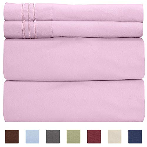 Full Size Sheet Set - 4 Piece - Hotel Luxury Bed Sheets - Extra Soft - Deep Pockets - Easy Fit - Breathable & Cooling Sheets - Wrinkle Free - Comfy - Light Pink Bed Sheets - Fulls Sheets - 4 PC
