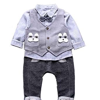 JIANLANPTT Fashion Casual Striped Bowtie Toddler Boys Gentleman Outfits Vest Shirt Pant Set Light Grey 2-3years