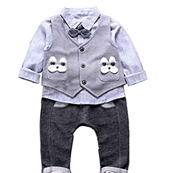 JIANLANPTT Fashion Casual Striped Bowtie Toddler Boys Gentleman Outfits Vest Shirt Pant Set Light Grey 2-3years