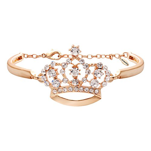 NOUMANDA Fashion Crystal Crown Bracelets Simple Jewelry for Women (Rose Gold)