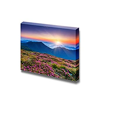 Beautiful Scenery Landscape Magic Pink Rhododendron Flowers on Summer Mountain - Canvas Art Wall Art - 24