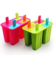 Ice Cream Moulds, Silicone Popsicle Molds Ice Pop Molds Maker BPA Free - Set of 8 - Food Grade Ice Cream Moulds Ice Pops Shapes for Homemade Popsicle, Dishwasher Safe (Red + Green, 2 Pack)