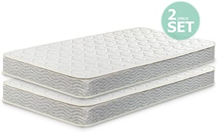 Zinus 6 Inch Spring Twin Mattress 2 pack, Perfect for Bunk Beds Trundle Beds Day Beds Set of 2