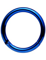 """Body Candy Blue Anodized Stainless Steel Hinged Segment Ring Circular Barbell 14 Gauge 3/8"""""""