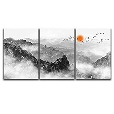 Dazzling Design, 3 Panel Chinese Ink Painting Style Mountains Among The Mist with Rising Red Sun x 3 Panels, Created Just For You
