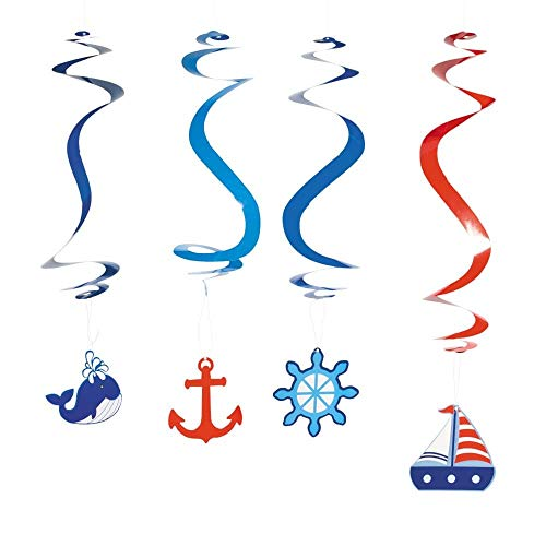 Nautical Dangling Swirl Party Decorations - 12