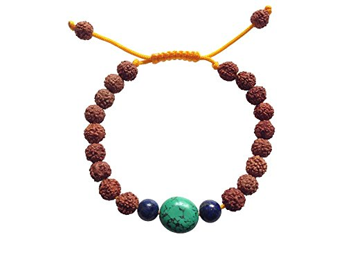 ha Wrist Mala/ Bracelet for Meditation (Lapis and large Turquoise) (Rudraksha Seed)