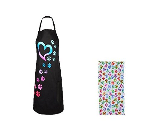 Colorful Paws to my Heart Kitchen Apron with Matching Kitchen (Puppy Aprons)