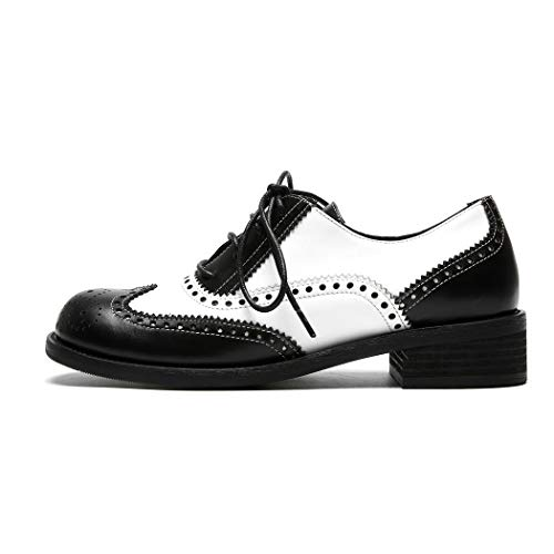 Mode A Talon Derbies Chaussure Annieshoe Lacets Noir Plateforme Oxford Blanc Et Femme Brogue wqIwSp