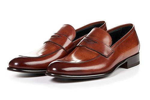 Paul Evans Stewart Penny Loafer Shoes for Men, Full-Grain Leather (Havana Brown)