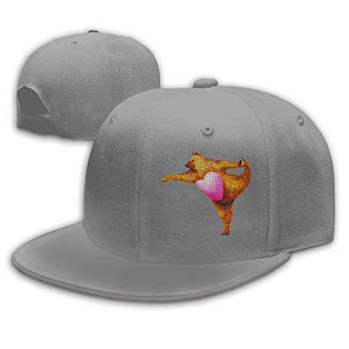 EVE JOHN Bear Doing Yoga Customized Hats for Woman 100% Organic Cotton Gray