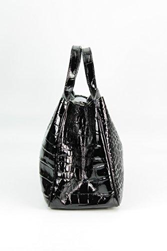 Belli - Bolso de tela de cuero para mujer negro negro