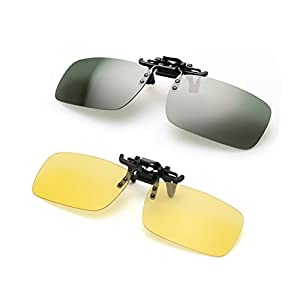 Clip on Sunglasses Flip Up Polarized Sunglasses Eyeglass by AUUS, Frameless Rectangle lens [2-Pack] UV400 Anti Glare Night Vision Glasses for Driving Outdoor