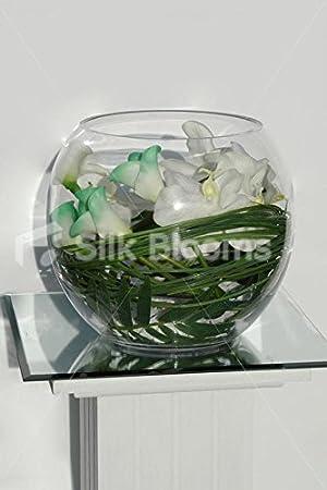 Rosa y verde marfiles y Calla Lily y jarrón y pecera de orquídea Artificial: Amazon.es: Hogar