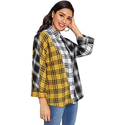 SweatyRocks Women's Long Sleeve Collar Long Button Down Plaid Shirt Blouse Tops at Women's Clothing store