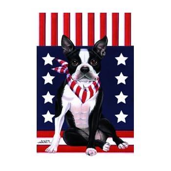 Elegant This Item Boston Terrier   Tomoyo Pitcher Patriotic Garden Flag
