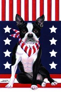 Delightful Boston Terrier   Tomoyo Pitcher Patriotic Garden Flag