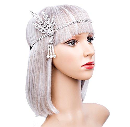 Art Deco 1920s Flapper Great Gatsby Leaf Wedding Bridal Tiara Pearl Headpiece Headband(silver)