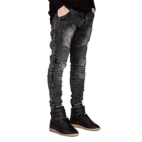 Pants Fashion Stretch Biker Racer Uomo Runway Slim Denim Jeans Pantaloni Grey Hiphop Fit Skinny pqPwUHXg