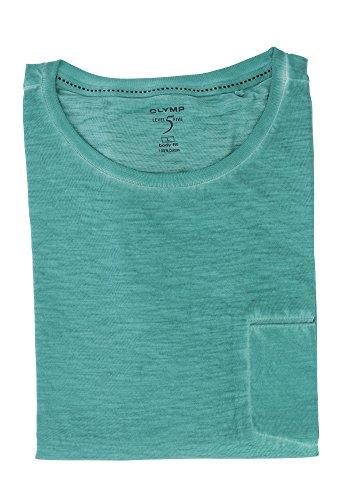 OLYMP Herren T-Shirt aus der Serie Level Five | Body Fit mit Rundhals & Brusttasche | 100% Baumwolle | Gr. L Türkis