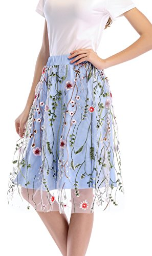 Yomoko Women's Knee Length A Line Floral Printed Dress Fresh Tutu Tulle Evening Party Skirt With Waistband (XX-Large, (Darling Floral Skirt)