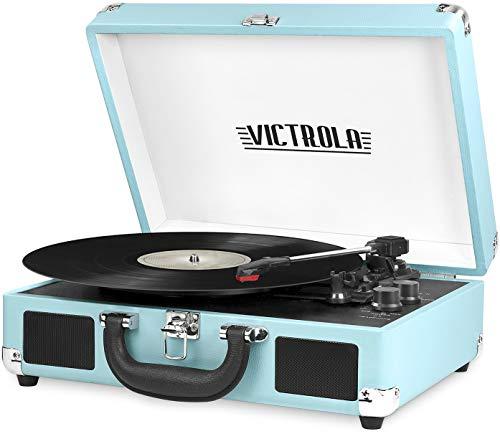 Victrola VSC-550BT-TQ Bluetooth Suitcase Turntable 3 Speed (Turquoise)