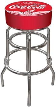 Trademark Global Vintage Style Pub Stool, Red