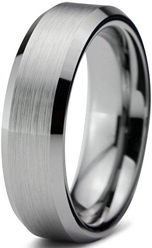 Tungsten Wedding Band Ring FREE Custom Laser Engraving 6mm for Men Women Silver Grey Beveled Edge Brushed Comfort Fit Lifetime (Silver Charming Life)